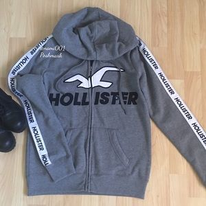 Hollister Zippered Hoodie with White Stripe Logo